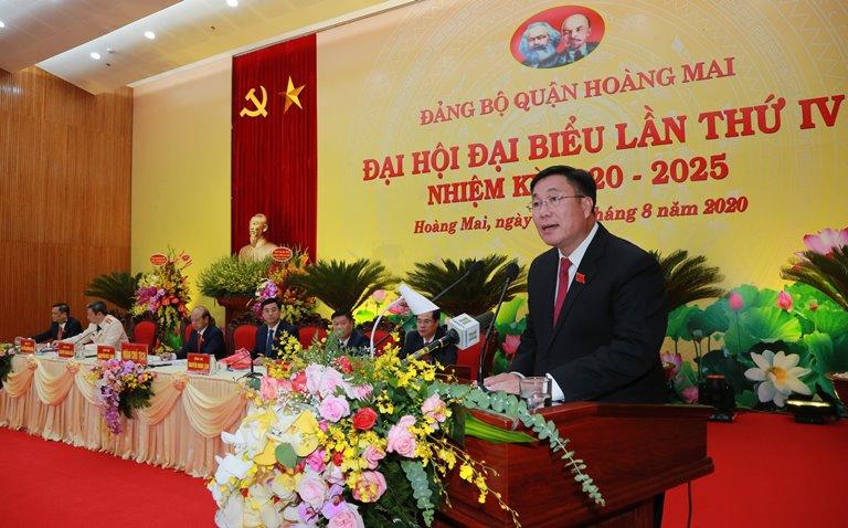 Bí thư Quận ủy Hoàng Mai Nguyễn Quang Hiếu phát biểu bế mạc Đại hội.