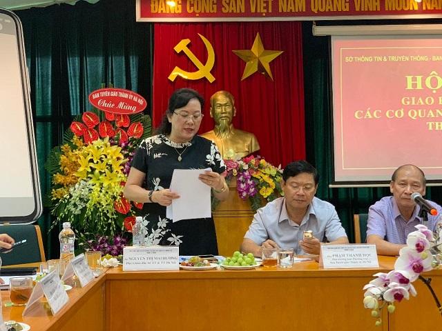 Đồng chí Nguyễn Thị Mai Hương - Phó GIám đốc Sở Thông tin - Truyền thông Hà Nội phát biểu tại hội nghị.