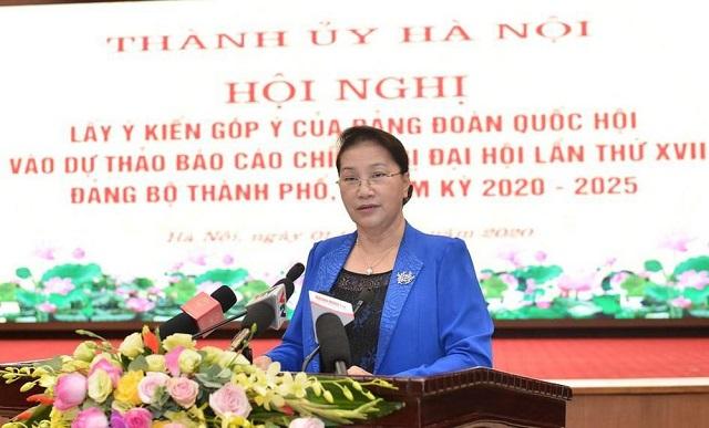Chủ tịch Quốc hội Nguyễn Thị Kim Ngân phát biểu ý kiến chỉ đạo hội nghị.