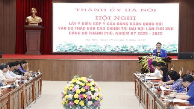 Hội nghị góp ý kiến của Đảng đoàn Quốc hội cho Dự thảo Báo cáo chính trị Đại hội Đảng bộ TP Hà Nội lần thứ XVII.