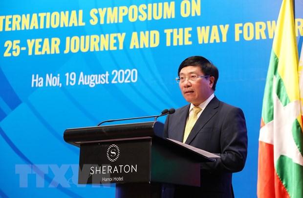 Phó Thủ tướng, Bộ trưởng Bộ Ngoại giao Phạm Bình Minh phát biểu khai mạc hội thảo. (Ảnh: Lâm Khánh/TTXVN)