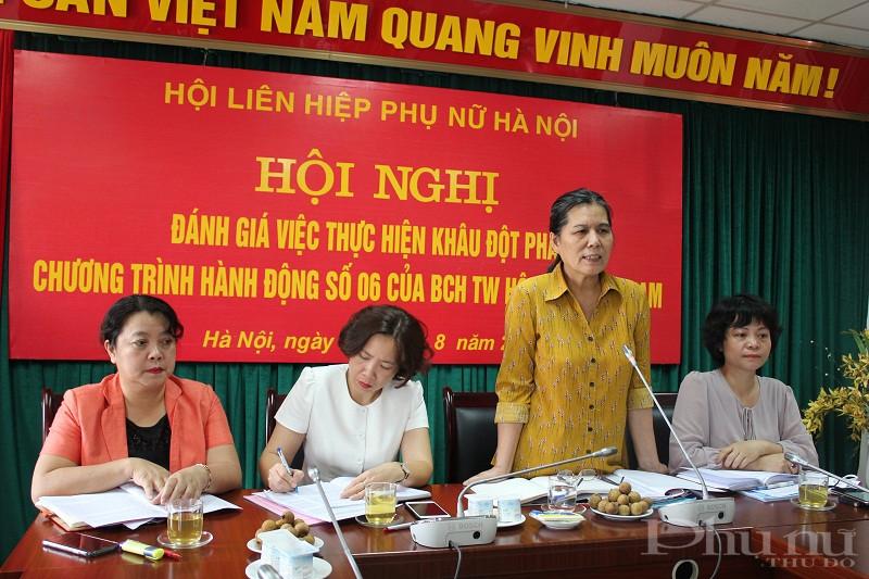 Đồng chí Nguyễn Thị Thanh Hòa –Chủ tịch Hội Bảo vệ quyền trẻ em Việt Nam phát biểu tại hội nghị