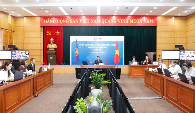 Toàn cảnh Hội nghị Quan chức kinh tế cao cấp năng lượng ASEAN lần thứ 38 tại điểm cầu Hà Nội. Ảnh: C.D