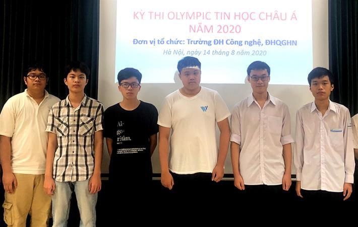 Sáu học sinh Việt Nam đoạt giải tại cuộc thi Olympic Tin học châu Á- Thái Bình Dương năm 2020. Ảnh: moet.gov.vn