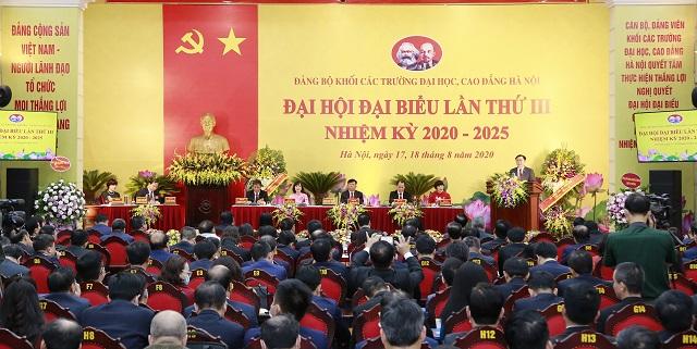 Quang cảnh Đại hội Đảng bộ khối các trường Đại học, Cao đẳng Hà Nội. Ảnh: Thanh Hải