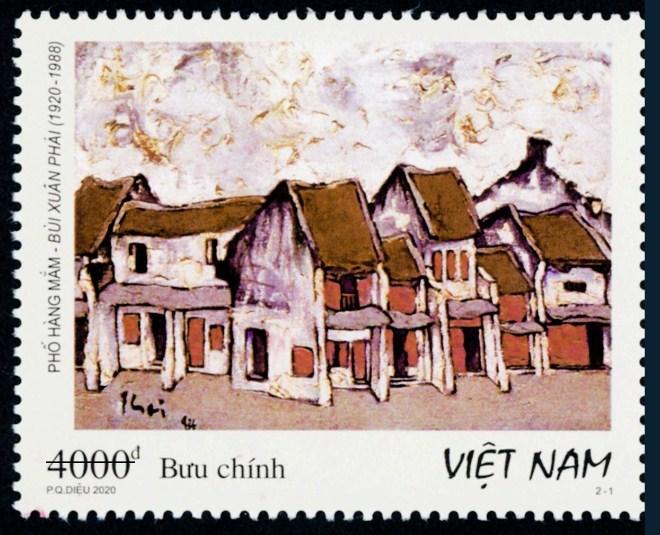 Mẫu tem giới thiệu phố Hàng Mắm.