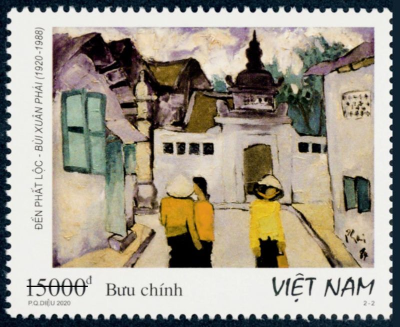 Mẫu tem giới thiệu Đền Phất Lộc.