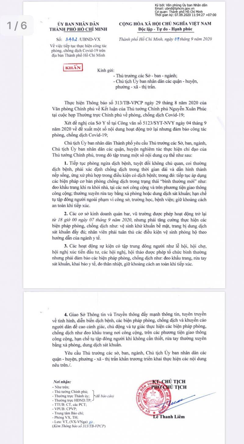Trích Văn bản chỉ đạo của UBND TP. Hồ Chí Minh