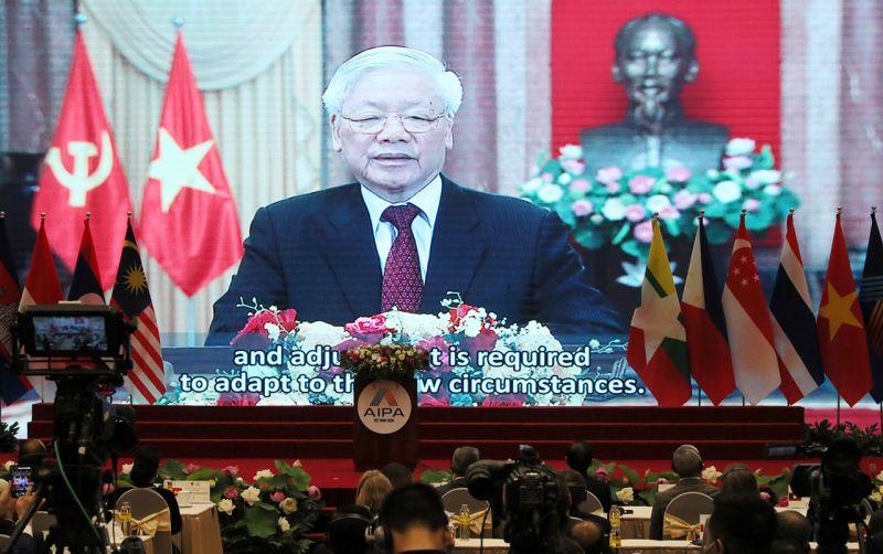 Tổng Bí thư, Chủ tịch nước Nguyễn Phú Trọng phát biểu trực tuyến