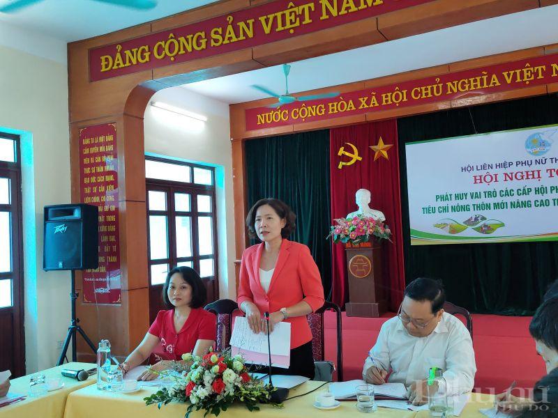 Đồng chí Lê Kim Anh - Chủ tịch Hội LHPN Hà Nội nhấn mạnh, trong thời gian tới, các cấp Hội Phụ nữ tiếp tục phát huy vai trò của tổ chức Hội tham gia thực hiện tiêu chí xây dựng nông thôn mới nâng cao trong đó quan tâm đến tiêu chí xây dựng môi trường sống an toàn cho phụ nữ và trẻ em.