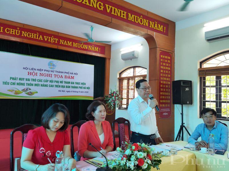 Đồng chí Nguyễn Kim Hoàng - Phó trưởng ban Dân vận Thành ủy Hà Nội phát biểu tại hội nghị tọa đàm