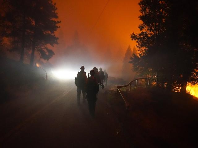 Các thành viên của Laguna Hotshots đi bộ trên đường ra khỏi Rừng Quốc gia Cleveland sau trận chiến với đám cháy