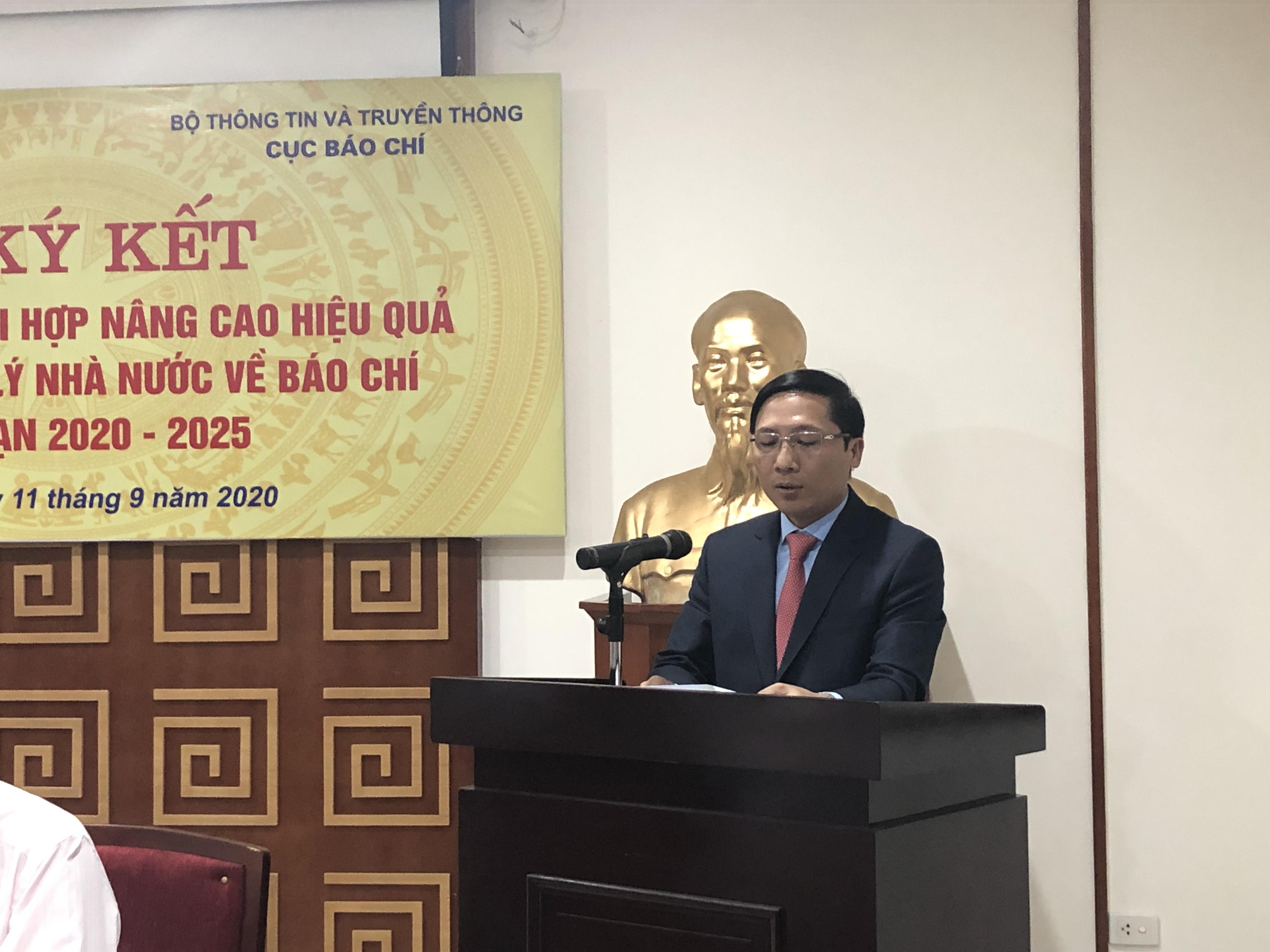 Đồng chí Nguyễn Thanh Liêm, Giám đốc Sở Thông tin và Truyền thông Hà Nội phát biểu khai mạc buổi lễ