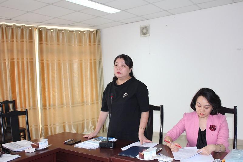 Đồng chí Nguyễn Thị Thu Thủy - Phó Chủ tịch Hội LHPN Hà Nội phát biểu chỉ đạo tại cụm thi đua số 4