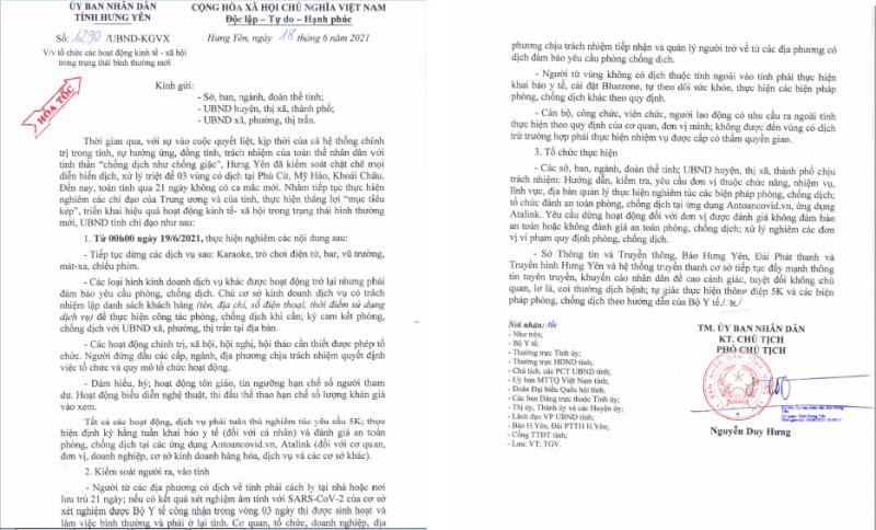 Công văn số 1290/UBND-KGVX của UBND tỉnh Hưng Yên