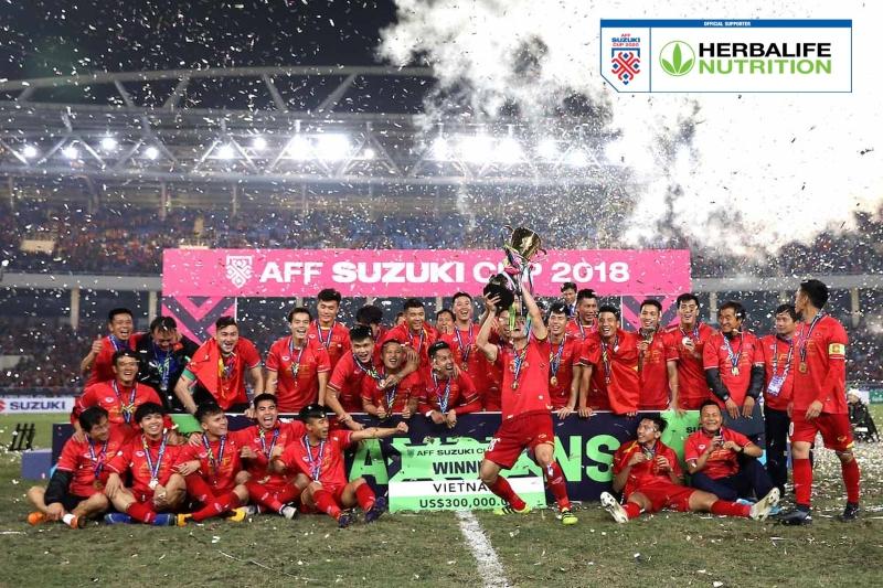 Đội tuyển Việt Nam ăn mừng chức Vô địch AFF Cup 2018.