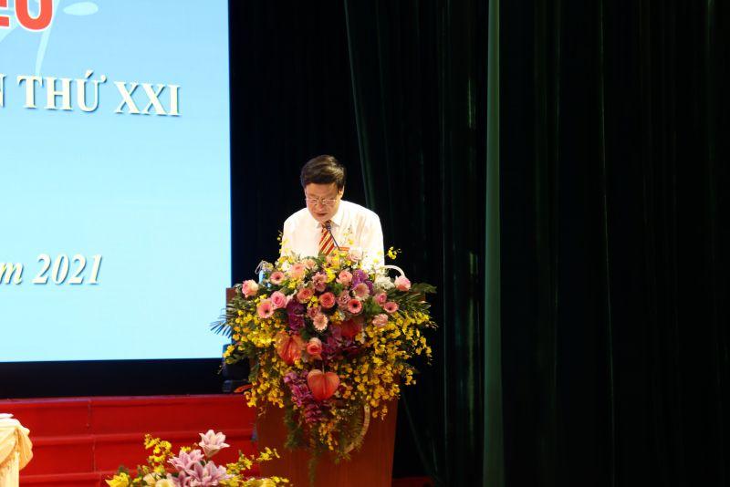 Đồng chí Lê Tiến Nhật - Bí thư huyện uỷ Thanh Trì phát biểu chỉ đạo tại Đại hội