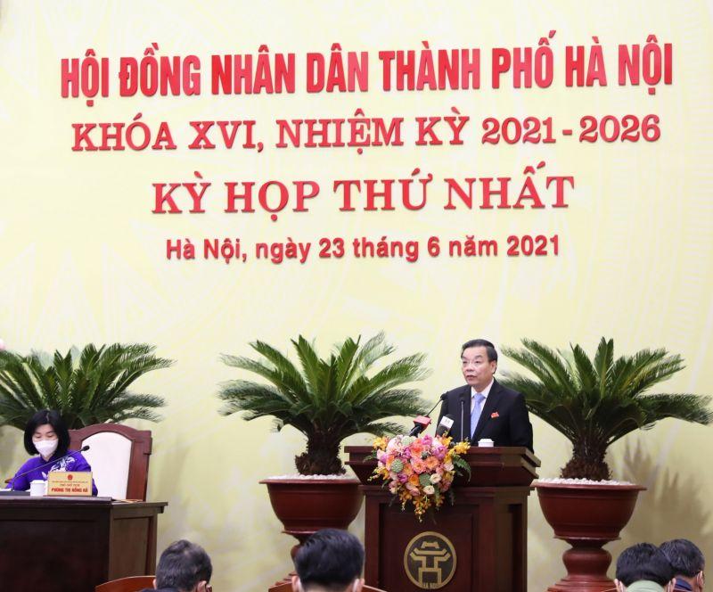 Chủ tịch UBND thành phố Chu Ngọc Anh phát biểu