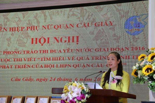 Bà Lưu Tuyết Trinh, Phó Chủ tịch Hội LHPN quận Cầu Giấy