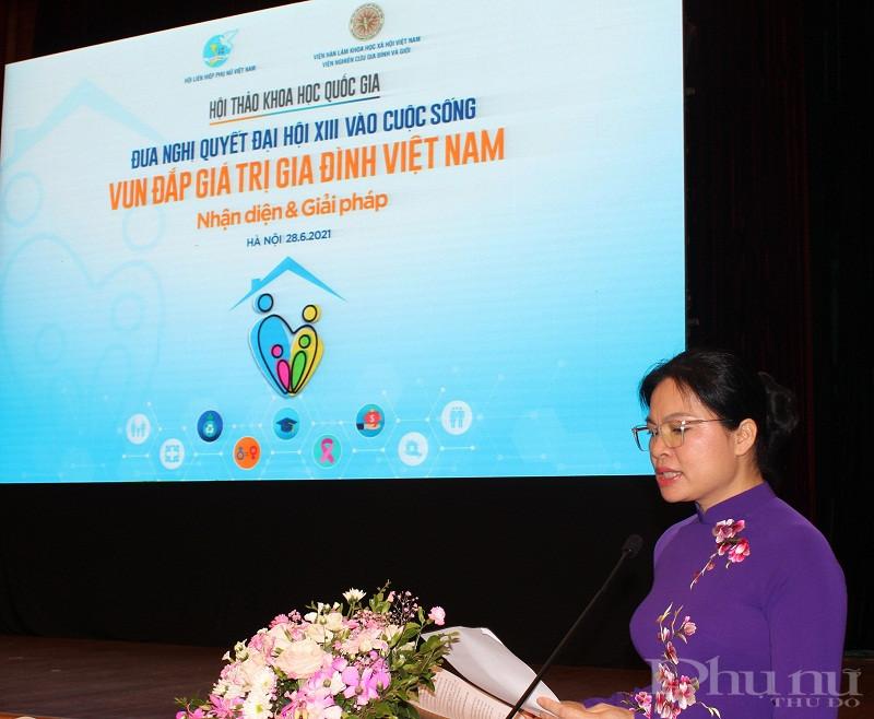 Chủ tịch Hà Thị Nga phát biểu khai mạc hội thảo