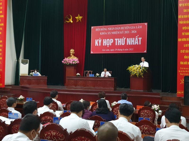 Quang cảnh kỳ họp thứ Nhất, HĐND huyện Gia Lâm nhiệm kỳ 2021-2026