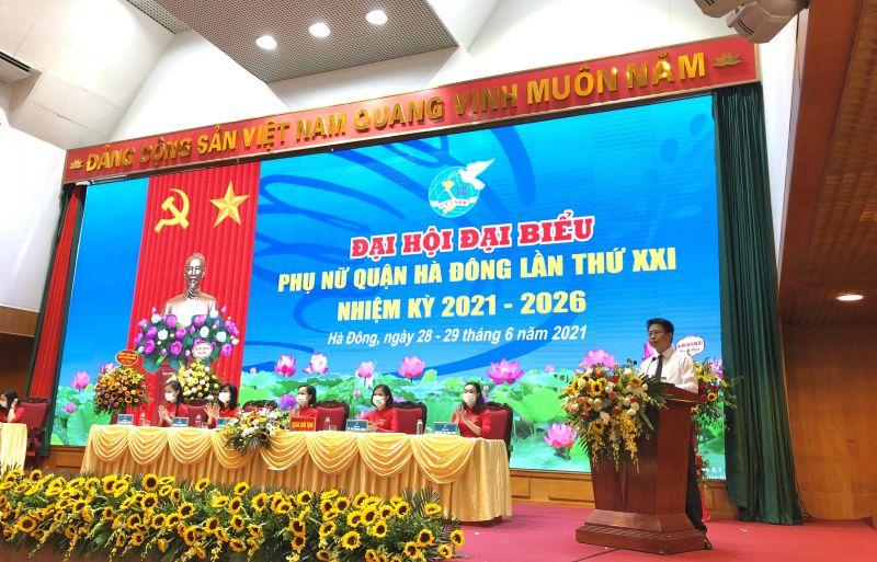 Bí thư Quận ủy Hà Đông Nguyễn Thanh Xuân phát biểu chỉ đạo hội nghị