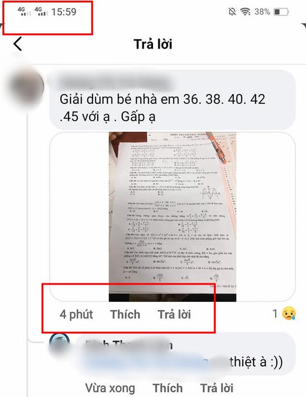 Ảnh chụp đề thi Toán bị lọt, phát tán trên mạng xã hội gây xôn xao dư luận trong lúc thời gian làm bài thi môn này chưa kết thúc
