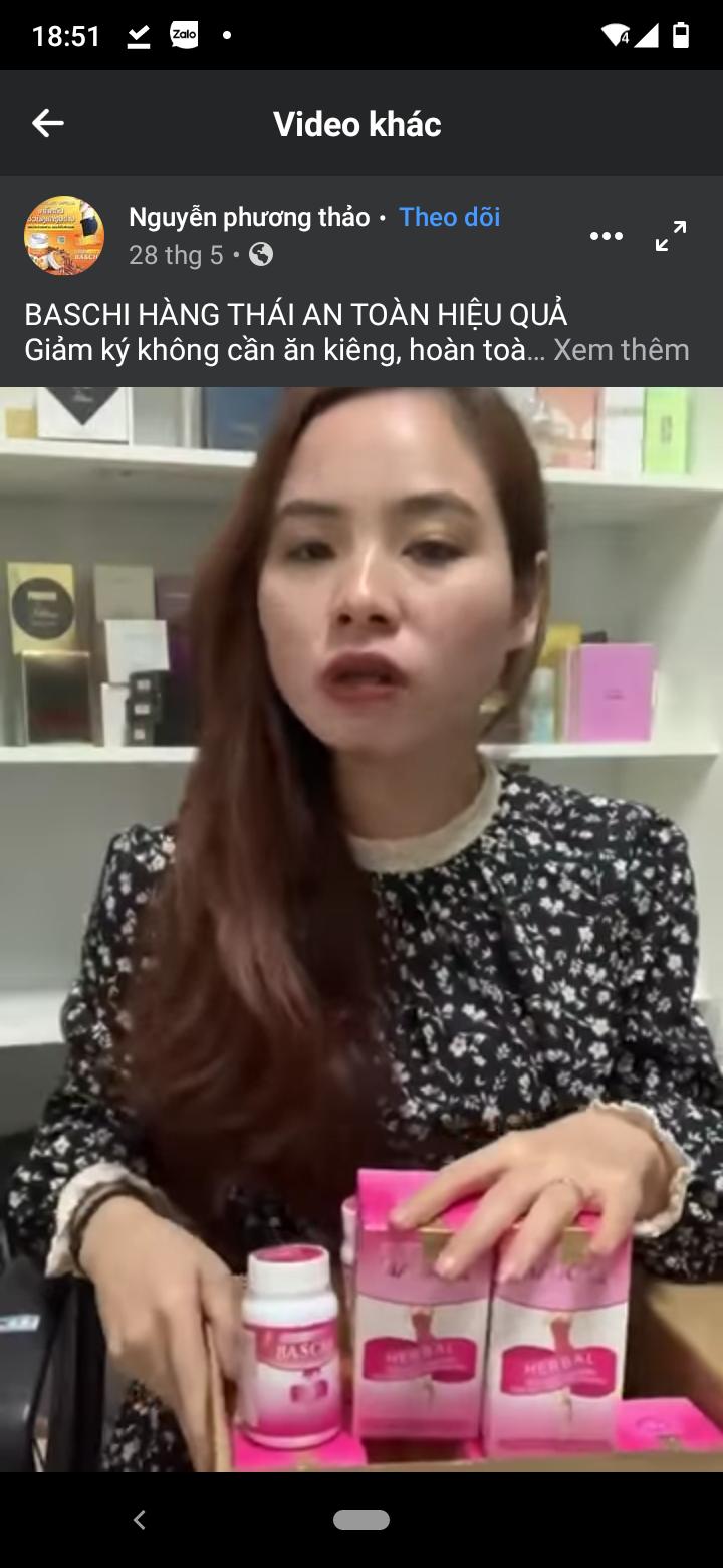 Hình ảnh lọ thuốc Baschi mà bệnh nhân ở Quảng Ninh uống gặp phải biến chứng do các bác sĩ bệnh viện Bạch Mai ghi nhận được và một Facebook vẫn tiếp tục quảng cáo