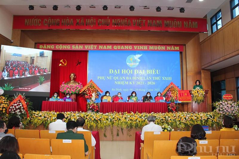 Đại hội phụ nữ quận Ba Đình được tổ chức theo hình thức Trực tiếp và trực tuyến để đảm bảo công tác phòng chống dịch