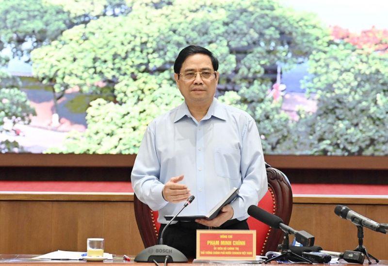 Thủ tướng Phạm Minh Chính phát biểu chỉ đạo tại cuộc làm việc với lãnh đạo Thành phố Hà Nội.