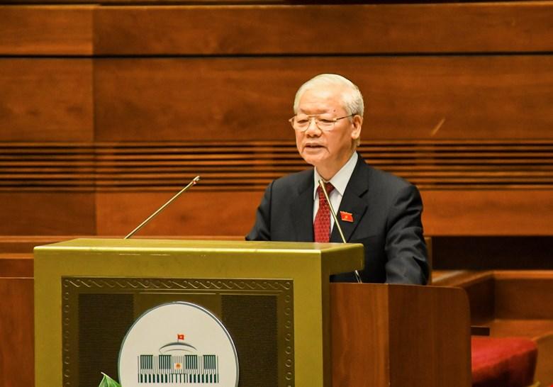 Tổng Bí thư Nguyễn Phú Trọng phát biểu tại Kỳ họp thứ nhất, Quốc hội khóa XV