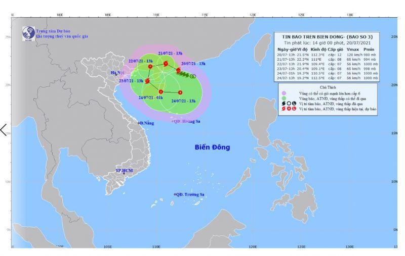 Dự báo đường đi của bão số 3. Ảnh: nchmf.gov.vn