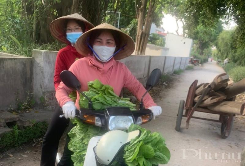 Hội viên Hội LHPN phường Lĩnh Nam hỗ trợ tiêu thụ rau sạch cho các hộ dân trong khu vực phong tỏa.