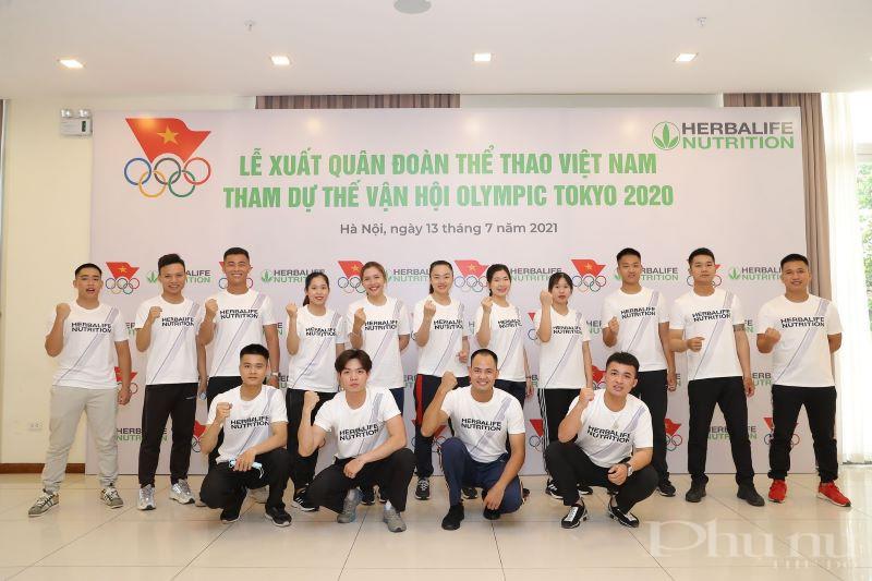 Các vận động viên thể hiện quyết tâm trước khi xuất quân tham dự Thế vận hội Olymoic Tokyo 2020.