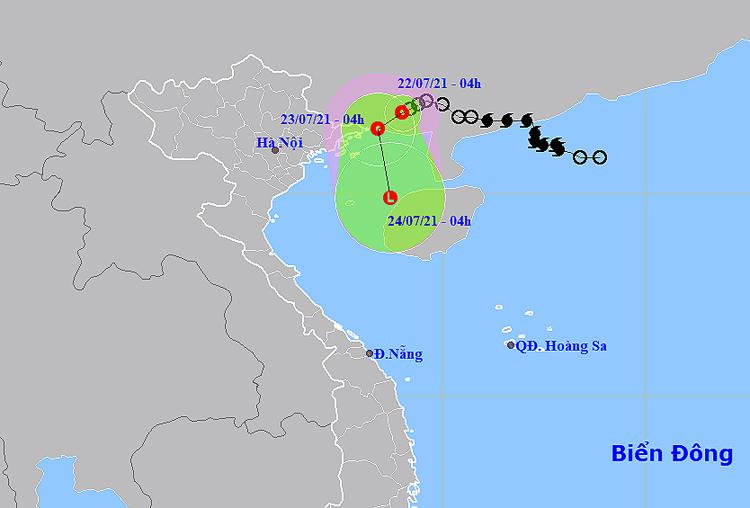 Vị trí tâm áp thấp nhiệt đới. Nguồn: NCHMF