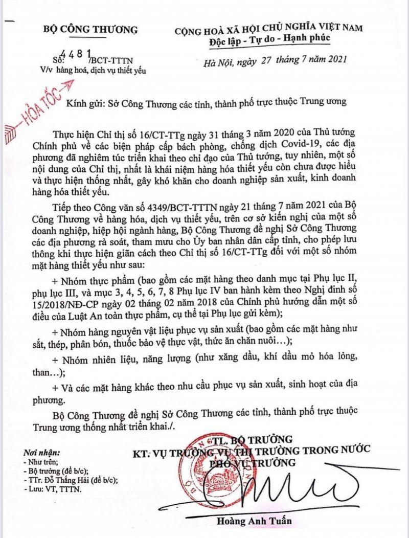 Văn bản Bộ Công Thương gửi Thủ tướng