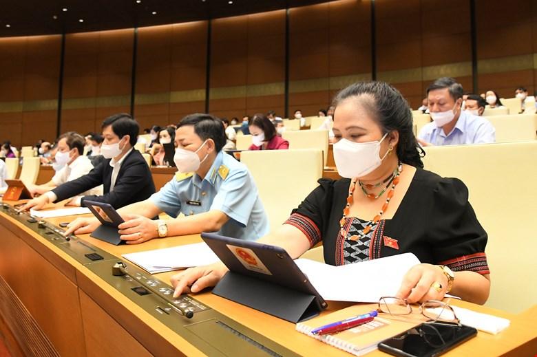 Các đại biểu nhấn nút biểu quyết thông qua Nghị quyết