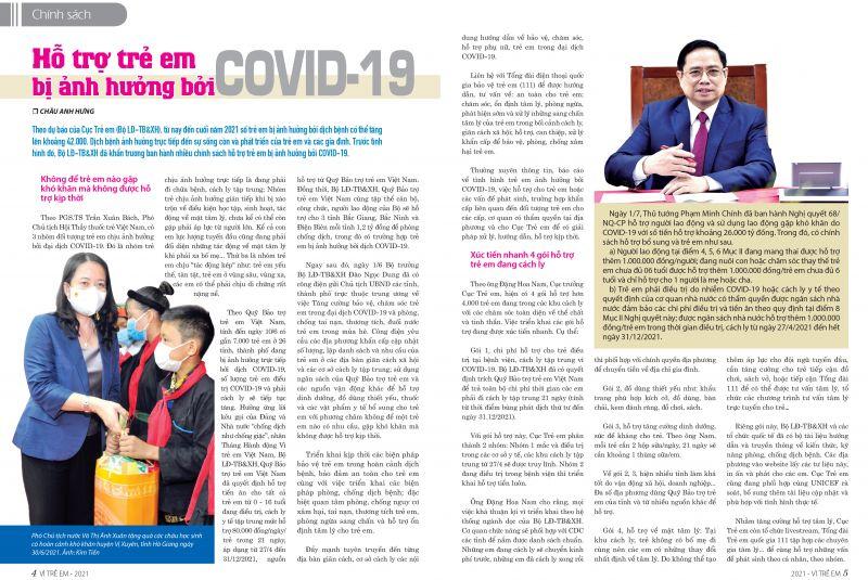 Ấn phẩm Vì trẻ em của Báo Lao động và Xã hội tiếp nối truyền thống của Tạp chí Gia đình và Trẻ em