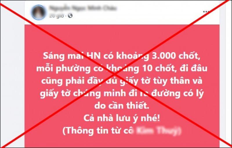 Đại tá Trần Ngọc Dương, Phó Giám đốc Công an thành phố Hà Nội khẳng định thông tin Hà Nội lập 3.000 chốt  lan truyền trên mạng là bịa đặt.