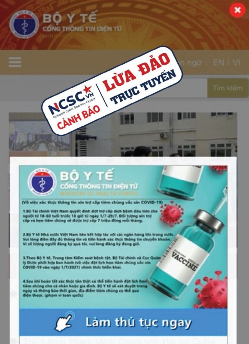 Trang web giả mạo trang web của Bộ Y tế để lừa đảo.