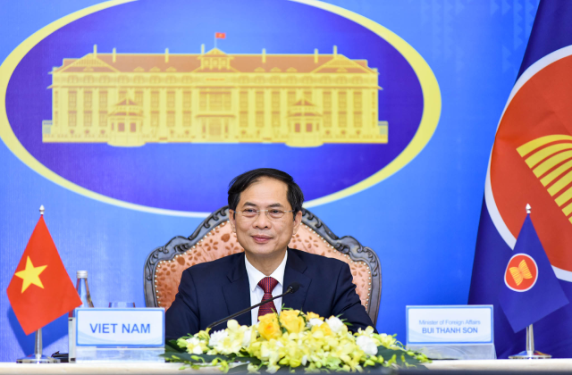 Bộ trưởng Bộ Ngoại giao Bùi Thanh Sơn phát biểu tại Hội nghị - Ảnh: BNG