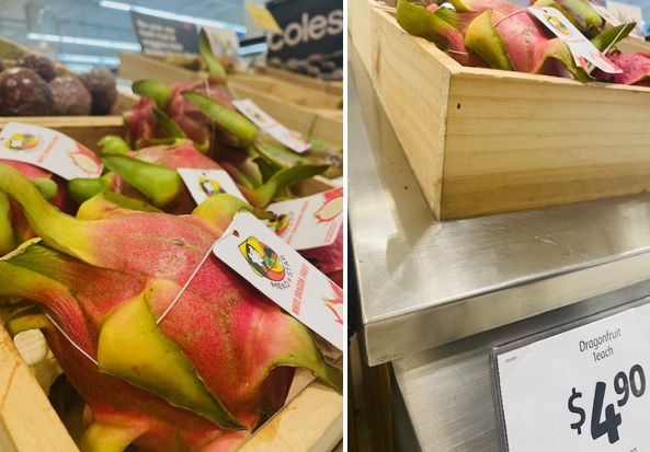 Thanh long được bán tại siêu thị Coles ở khu Bondi Junction, Sydney với giá 4,9 AUD/quả