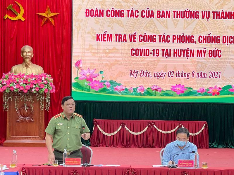 Trung tướng Nguyễn Hải Trung - Giám đốc Công an TP làm việc với huyện Mỹ Đức.