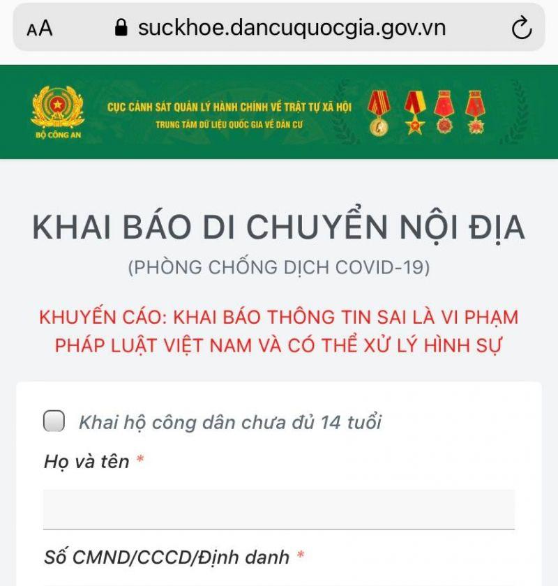 công dân sẽ truy cập vào địa chỉ website: https://suckhoe.dancuquocgia.gov.vn thông qua thiết bị di động smartphone hoặc máy tính có kết nối internet. Thông tin của công dân kê khai sẽ được kiểm tra đối chiếu với cơ sở dữ liệu quốc gia về dân cư.