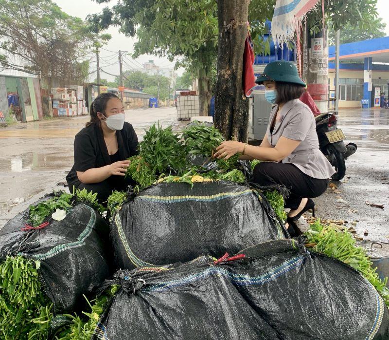 Hội LHPN quận tích cực hỗ trợ tiêu thụ nông sản cho phụ nữ và nhân dân. Trong ảnh: Chủ tịch Hội LHPN quận Hà Đông Lại Hà Phương chỉ đạo hỗ trợ tiêu thụ rau muống cho hội viên phụ nữ và nhân dân các phường Phú Lãm và Đồng Mai
