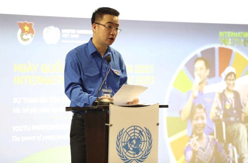 Ông Nguyễn Tường Lâm, Bí Thư Trung ương Đoàn TNCS  Hồ Chí Minh phát biểu tại Lễ kỷ niệm