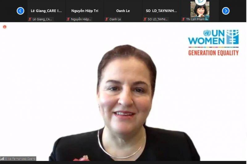 bà Elisa Fernandez Saenz, Trưởng đại diện UN Women tại Việt Nam khuyến nghị Việt Nam cần đầu tư có mục tiêu vào thay đổi chuẩn mực xã hội theo hướng thúc đẩy bình đẳng giới.