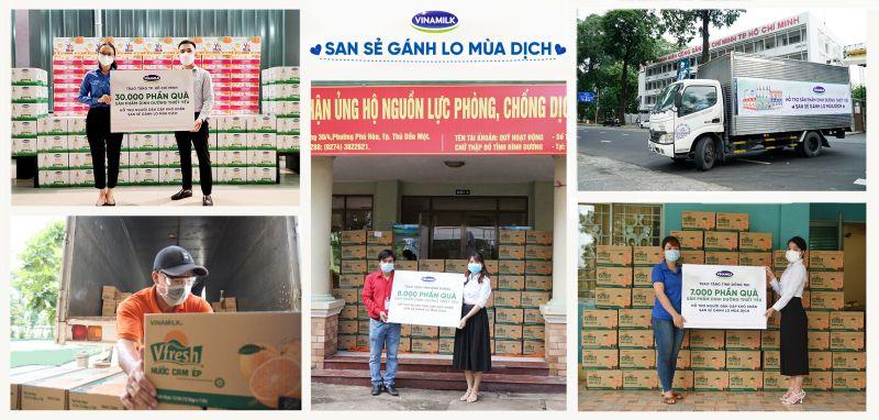 45.000 phần quà là những sản phẩm dinh dưỡng thiết yếu được Vinamilk trao tặng cho người dân, người lao động có hoàn cảnh khó khăn.