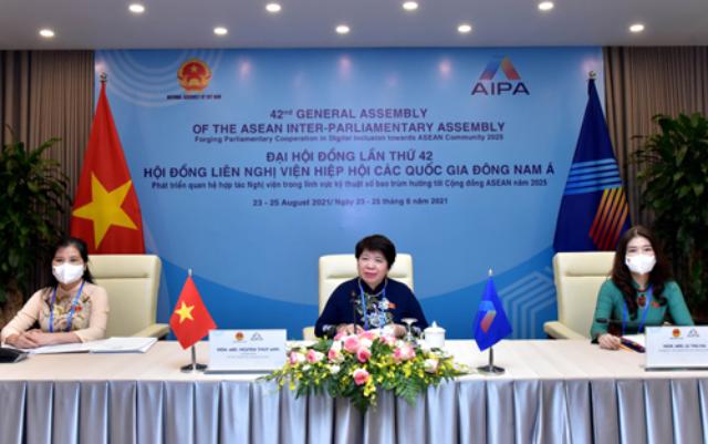 Chủ nhiệm Ủy ban Xã hội Nguyễn Thúy Anh (giữa) dẫn đầu đoàn Đại biểu Quốc hội Việt Nam tham dự Hội nghị Nữ nghị sĩ AIPA (WAIPA).