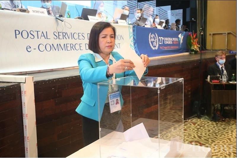 Đại sứ đặc mệnh toàn quyền Lê Thị Tuyết Mai, Trưởng Phái đoàn thường trực Việt Nam bên cạnh Liên hợp quốc, Tổ chức Thương mại thế giới và các tổ chức quốc tế khác tại Geneva, đại diện Việt Nam bỏ phiếu bầu cử tại Đại hội.